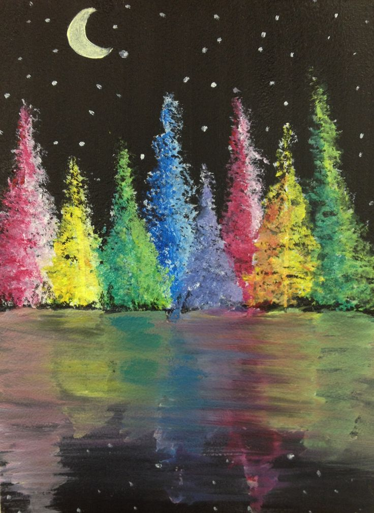 Easy Cool painting idea. Night scene with stars and moon - Rainbow Forest Reflection. Please also visit www.JustForYouPropheticArt.com for more colorful Prophetic Art. Thank you so much!