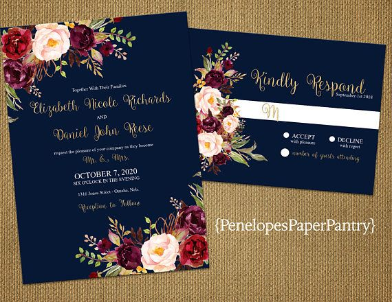 Romantic Navy Fall Wedding Invitation,Navy Blue,Burgundy,Marsala,Blush,Roses,Gold Print,Shimmery,Elegant,Printed Invitation,Wedding Set