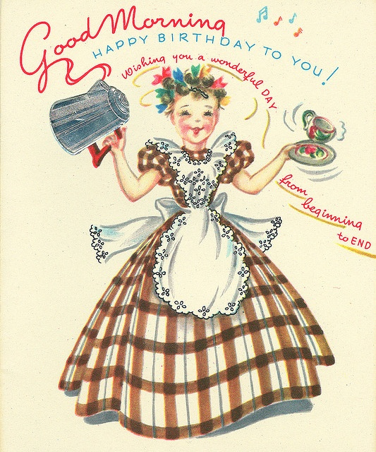 Good Morning Vintage Photos : Good birthday morning greetings vintage cards