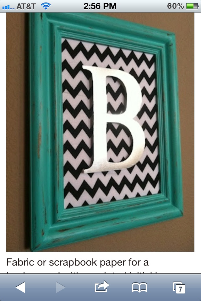Monogram wall hanging - fabric in frame with wooden letter