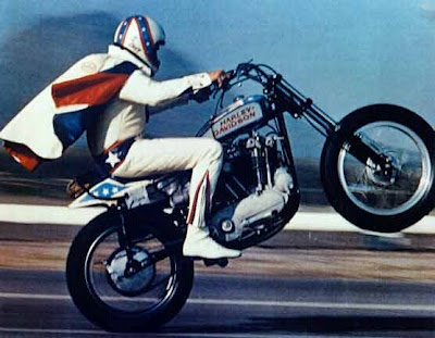 Evil Knievel was my hero when I was a kid.  My Uncle Bob took me to see him jump at St. Louis International Raceway!