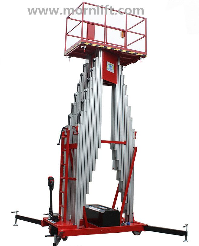 Aluminium lift is mainly used to lift workers to higher places for It is characterized by manual move, portability and easy to work. Lift power: AC(110V, 220V, 380V, 415V), DC or diesel available. Both ground and platform can control the lift by hydraulic cylinder, easily operated. sa@mornlift.com www.mornlift.com