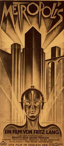 3) Here we have the first appearance of arguably the most beautiful poster ever designed, by German graphic artist Heinz Schulz-Neudamm. This is the domestic German three-sheet for Fritz Lang's silent masterpiece Metropolis from 1927, which sold for $357,750 in 2000