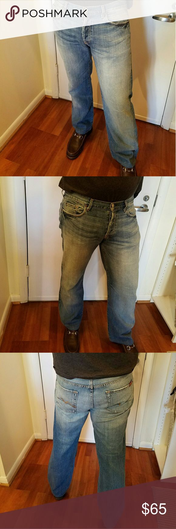 Mens 7 For All Mankind Jeans Mens Seven jeans 36 x 31.5 Relaxed cut. #713629 Button fly  Great wash with some light spots which is perfect for the warmer seasons. 7 For All Mankind Jeans Relaxed