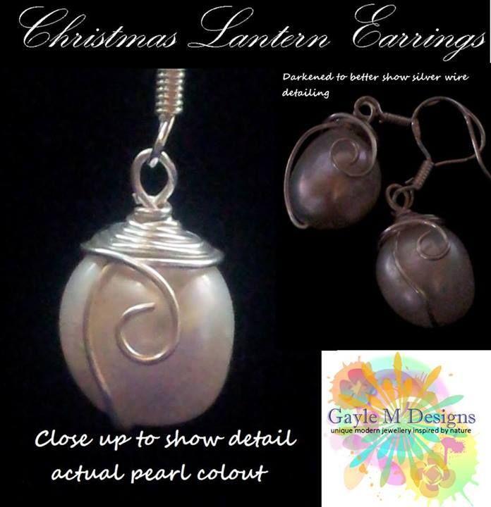 Handmade by Gayle M Designs Christmas Lantern Earrings