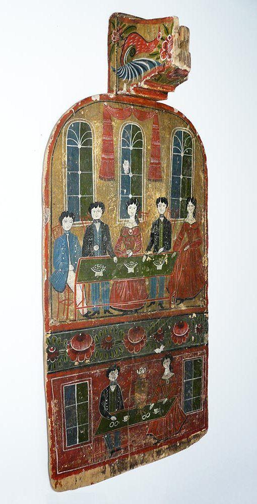Донце прялки с копылком. Городецкая роспись вторая половина 19 века