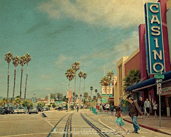 Travel photography, Santa Cruz, boardwalk seaside, California art, vintage style, colour photography, fine art print - Casino crossing