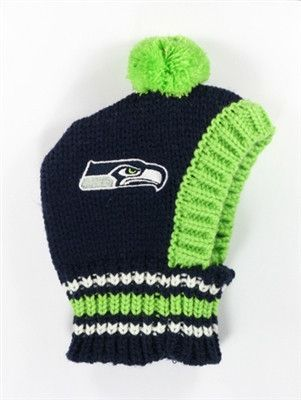 Seattle SEAHAWKS NFL Official Licensed Ski Hat for Dogs in color Blue/Green