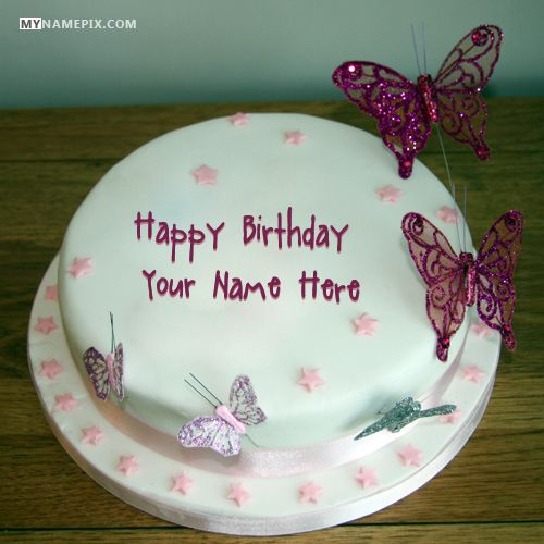 Best #1 Website for name birthday cakes. Write your name on Butterflies Birthday Cake For Girlss picture in seconds. Make your birthday awesome with new happy birthday greetings cakes. Get unique happy birthday cake with name.