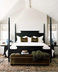 Love this black bed frame!