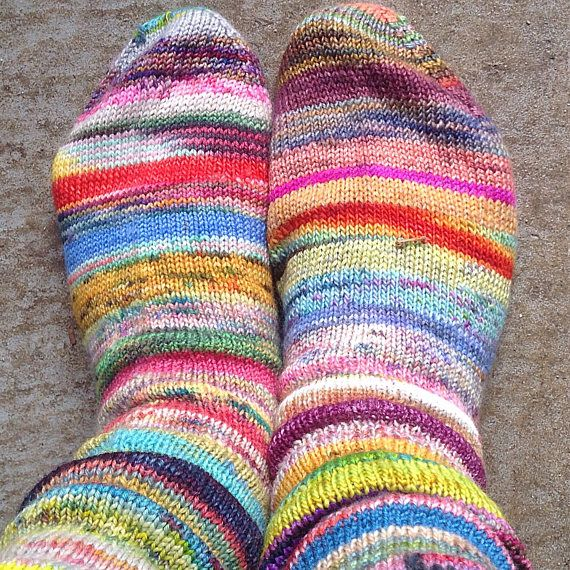 Scrappy hand knitted socks
