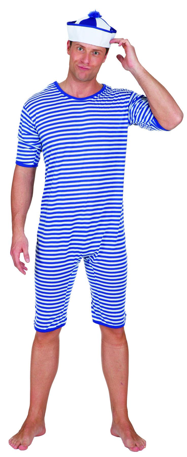 Kostüm Schwimmer, histor. Badeanzug der 20er Jahre, Ringelware blau/weiß