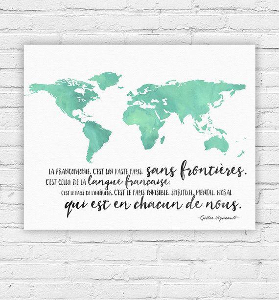 Typography Poster Instant Download La Francophonie by JDJustine