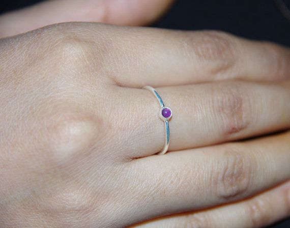 Silver Ring Amethyst Stone Ring Beautiful by AdornmixJewels