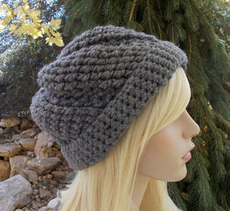 Dark Gray Crochet Hat, Beanies for Teenage Girls, Winter Hats for Women, Gift Ideas for Women, Gifts for Teen Girls, Knit Hat, Cute Beenie by foreverandrea on Etsy