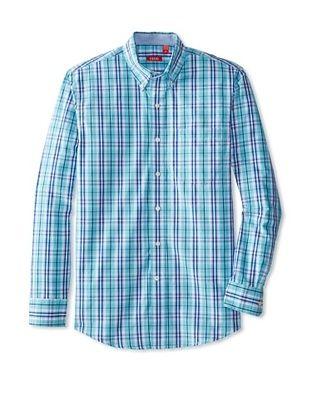 55% OFF IZOD Men's Long Sleeve Plaid Button Down (Maui Blue)