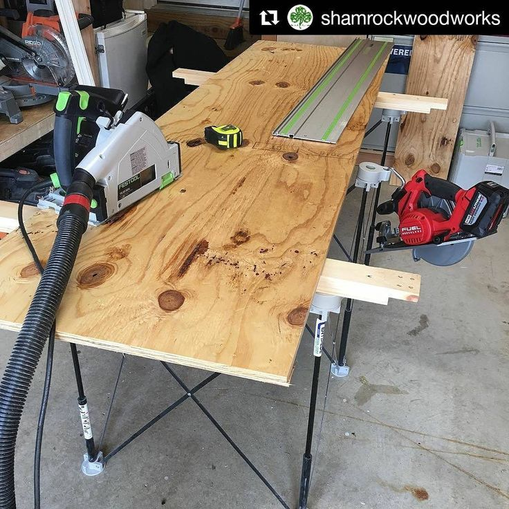 Great to have a #CentipedeSupport around for when you need quick #workbench #workspace in a crowded #workshop. Repost via @shamrockwoodworks:    Adding some more tool storage. I don't know what's worse, not enough tool storage or not enough clamps. #tools #toolstorage #festool #milwaukee #milwaukeetools #centipedetool #remodel #sundayfunday #build #maker #diy #shelves #woodworking  #CentipedeSawhorse #portable #woodshop #worktable #stand #sawhorse #handyman #carpentry #joinery