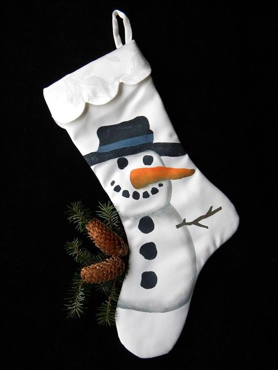 Snowman Christmas 24 stocking painted snow winter by crabbychris, $40.00