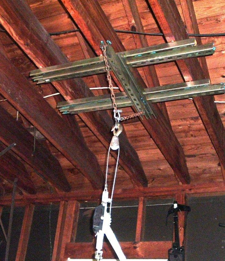 Ceiling-Anchored Engine Hoist by KempLN3R -- Homemade ceiling-anchored engine hoist mount fashioned from 10' metal strap supports and lag bolts. http://www.homemadetools.net/homemade-ceiling-anchored-engine-hoist