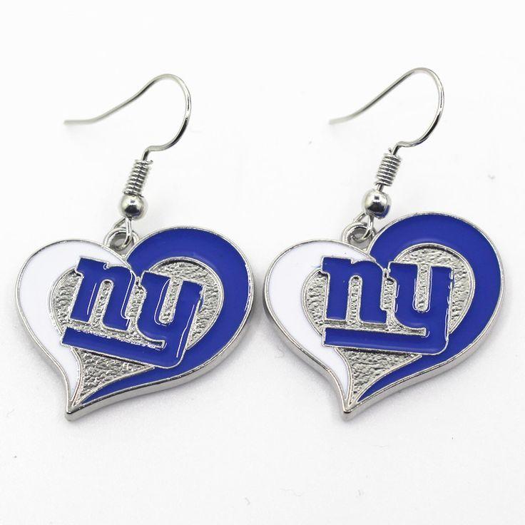 New Arrival Heart NFL Team Sports Earrings New York Giants Football Team Earrings Charms Jewelry Women Erring 6pair/lot #Affiliate