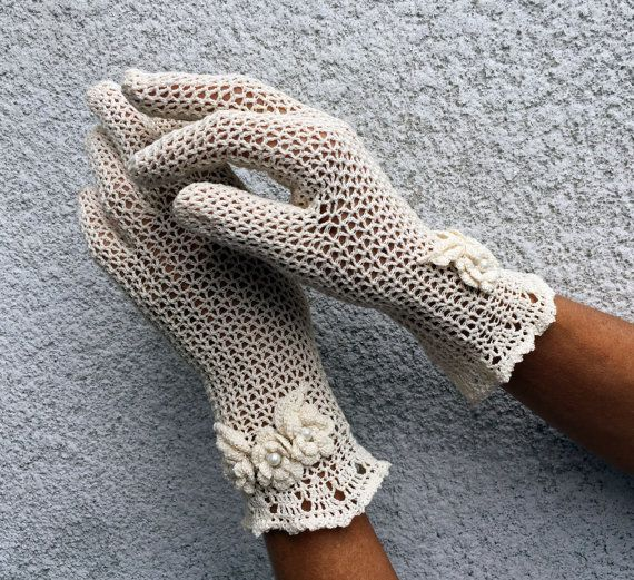Elegant Natural Lace Gloves  Vintage Style Accessory by domklary