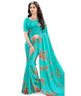 Swanky Blue And Multi-Color Satin Saree.