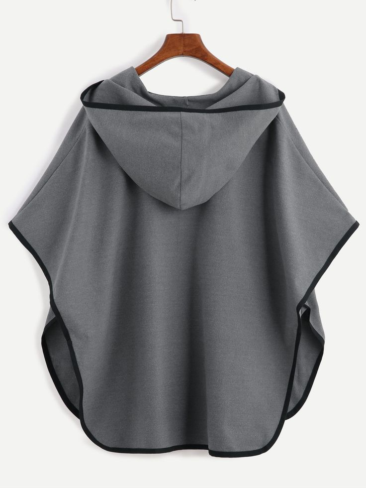 Buy Grey Contrast Binding Open Front Hooded Poncho Coat from abaday.com, FREE shipping Worldwide - Fashion Clothing, Latest Street Fashion At Abaday.com