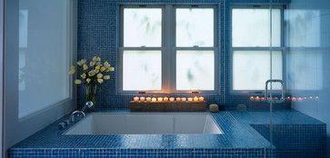 Bold blue #mosaics encircling your bath tub. #UnionTiles www.uniontiles.co.za Hacken Residence modern bathroom