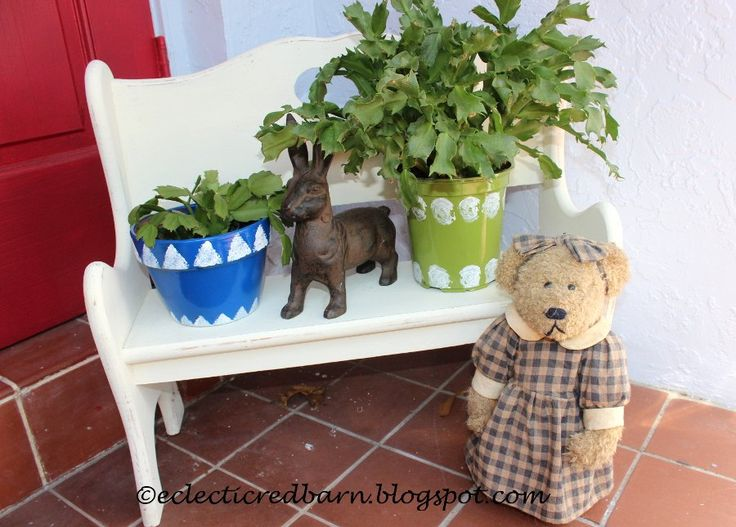 Turn Plain Flower Pots Into Cute Ones using Rustoleum spray paint,  acrylics,  and sealing with acrylic waterproof spray