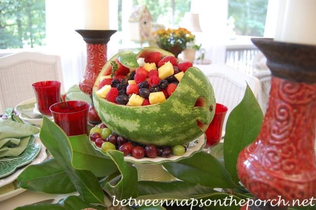 Carved Watermelon Centerpiece for a Summer Table Setting_wm
