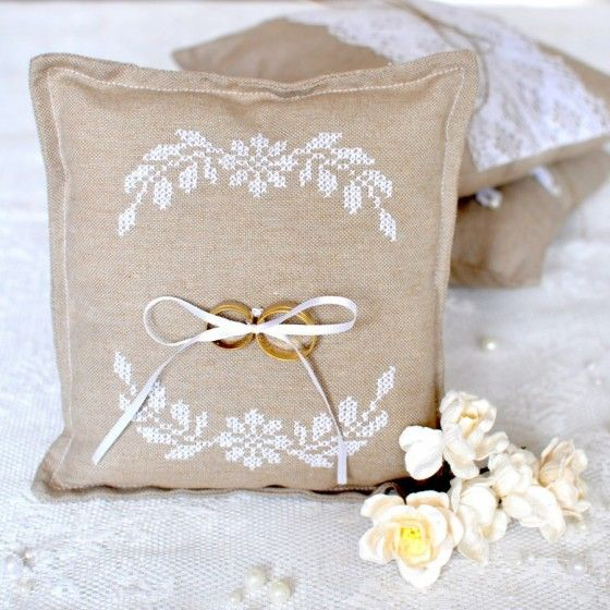 Wedding ring pillow - with cross stitch