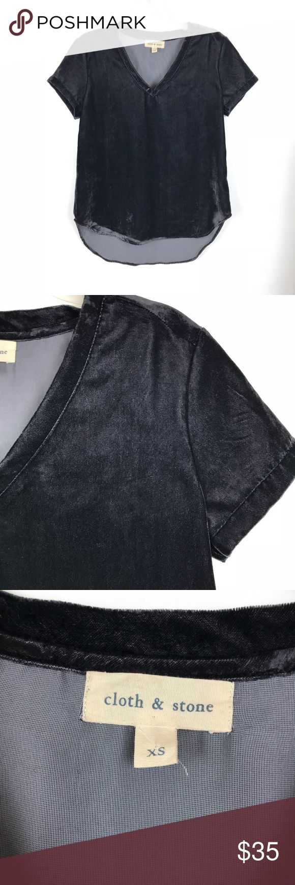 "ANTHROPOLOGIE | Cloth & Stone Velvet Blouse Dark gray. Soft and v neck.   Condition: new without tags Measurements (laying flat): 18.5"" pit to pit 27"" length  Item location: bin 21 Anthropologie Tops"