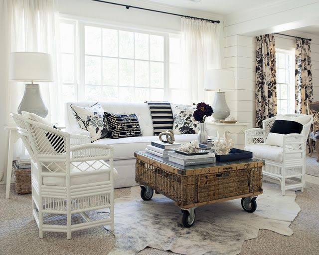 design indulgence: MY HOUSE wicker coffee table on casters curtains