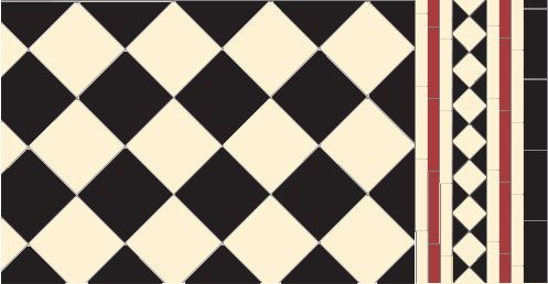 Victorian Floor Tile Oxford Pattern in Black & White with modified Browning border