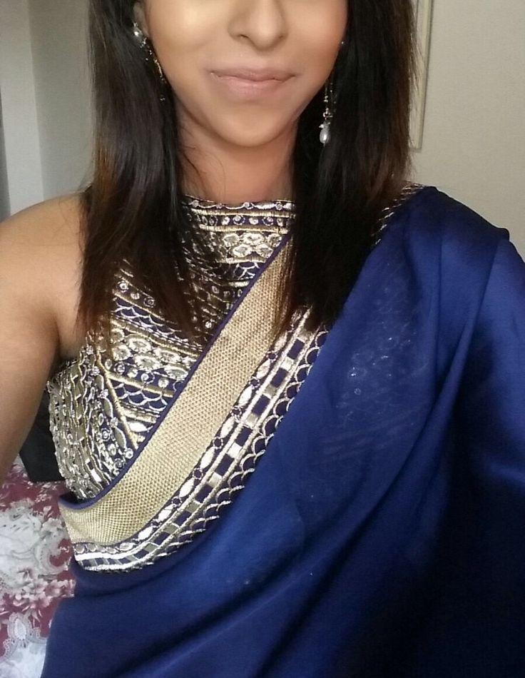 Minimalistic saree with intricate blouse design get your salwar suit made @nivetas Design Studio  visit us : https://www.facebook.com/punjabisboutique for purchase query email: nivetasfashion@gmail.com whatsapp +917696747289 #designer blouses