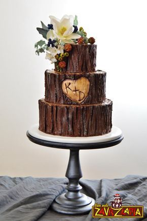 Rustic Tree Wedding Cake by Nasa Mala Zavrzlama - http://cakesdecor.com/cakes/212834-rustic-tree-wedding-cake