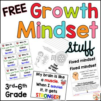 Are you teaching your students about growth mindset and fixed mindset? This growth mindset freebie includes 10 pages of material that you can print and use right away with your students. The contents include: - Growth Mindset Notes from the Teacher (one page in full color