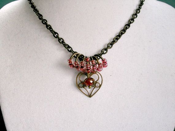 Delicate Heart  Vintage Brass Heart Pendant and by StrandedBeads, $35.00