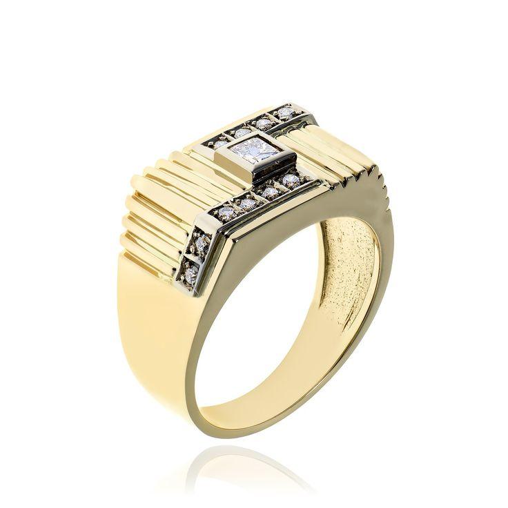 14kt yellow gold diamond men's ring.