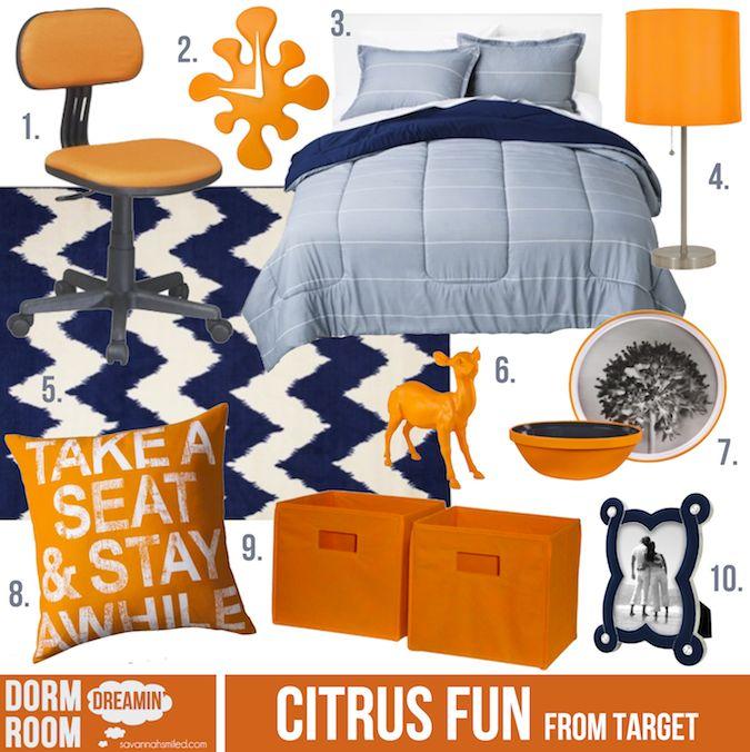 Citrus Fun. Dorm room inspiration from Target.   #target #orange #navy #dorm