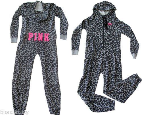 VICTORIA'S SECRET LOVE PINK LEOPARD HOODIE ONESIE PAJAMA SLEEPER ONE PIECE M