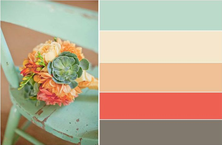 Bedroom and Bathroom Colors (Mint for Bedroom accent wall and Bathroom walls, Coral for curtains and accent pillows/blankets, Beige for bedsheets, Cream for duvet) - Image taken from DesignSeeds.com