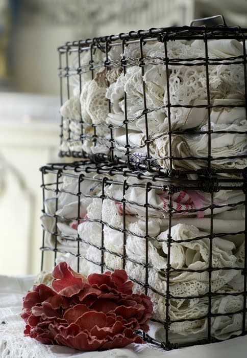 linens and wire baskets