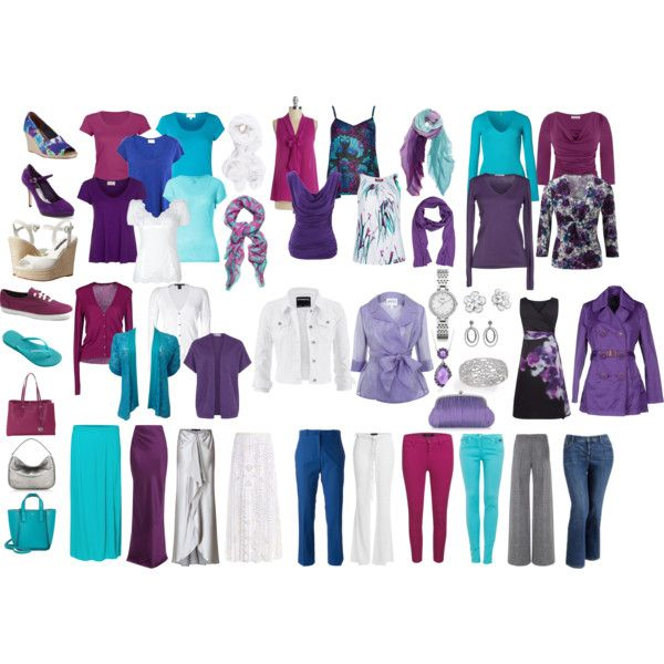 My 2015 Spring/Summer/Fall Capsule Wardrobe in shades of turquoise, deep purple, raspberry, and white. This capsule is exactly 50 items but, depending on your...