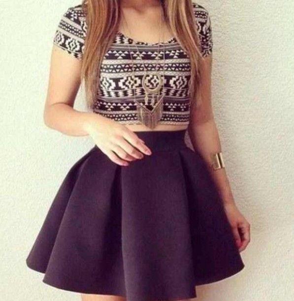 Half Shirt And High Waisted Skirt