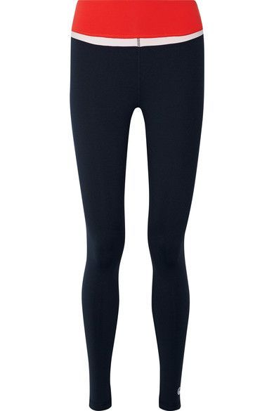 Tory Sport - Color-block Stretch-tactel Leggings - Navy - x large