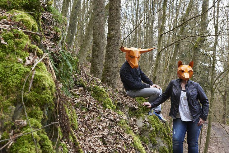 masken, orange, shooting, werbeagentur [raster]fabrik gmbh,  fuchs, stier, wald