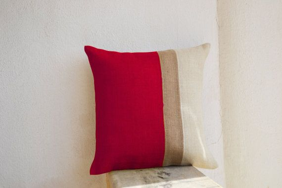 Burlap Pillows  Red Burlap Pillow color block  Red by AmoreBeaute, $34.00