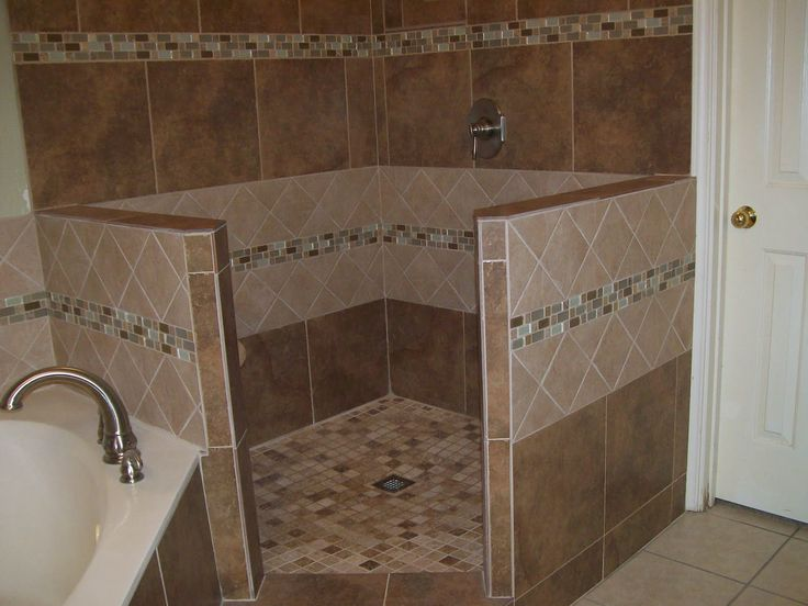 Corner Tile Walk In Shower Expanded Shower Both Directions Built Corner Entrance Door To