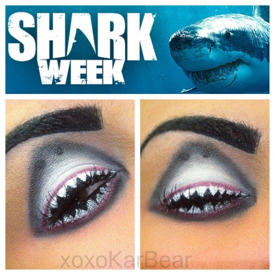 Shark Week fabulous eye makeup idea. Just don't try this out on your first date!